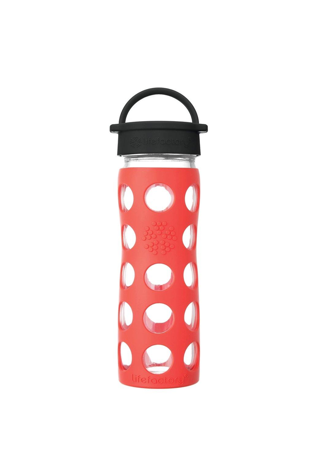 Sklenena lahev na vodu Lifefactory 475 ml Poppy