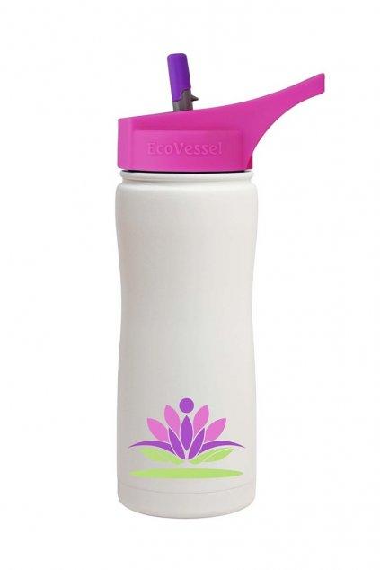 Termo láhev sportovní s brčkem Eco Vessel 500 ml lotosový květ