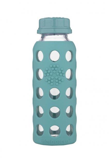 Sklenena lahev pro deti Lifefactory 260 ml tyrkysova