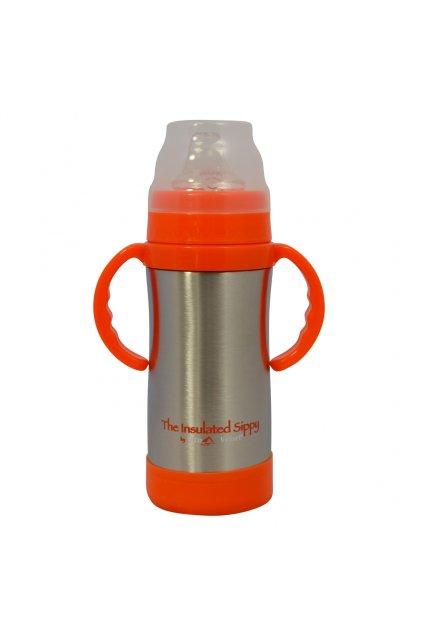 Kojenecká termolahev s pítkem Eco Vessel 300 ml stříbrná