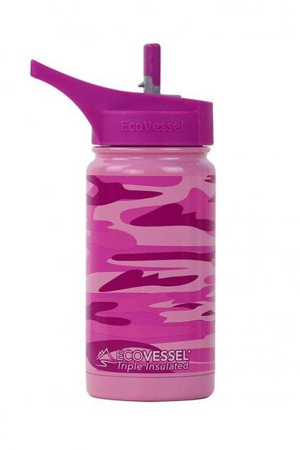 Termofľaša pre deti Eco Vessel 370 ml maskáčová ružová