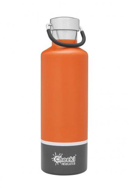 600ml Insulated Classic OrangeGrey Front