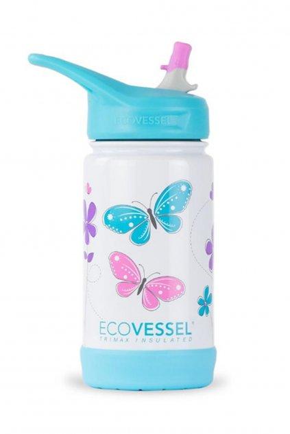 Detska termolahev s brckem  Eco Vessel Frost 355 ml s motylikmi