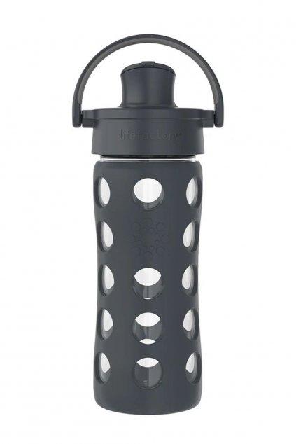 Sklenena flaska 350 ml Lifefactory siva