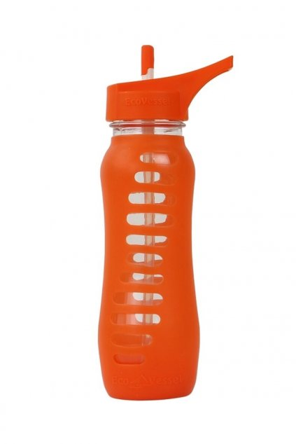 Skleněná láhev s brčkem Eco Vessel 650 ml oranžová
