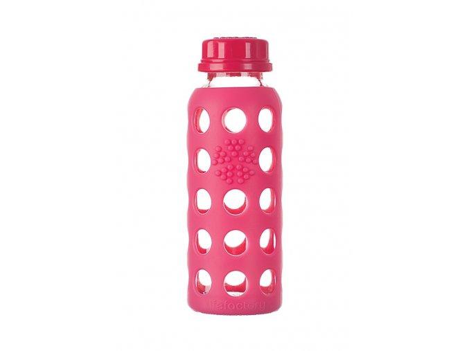 Sklenená fľaša pre deti Lifefactory 260ml ružová