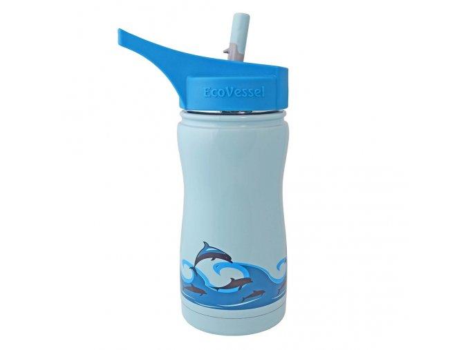 Dětská termolahev s pítkem a brčkem Eco Vessel modrá s delfíny 370 ml