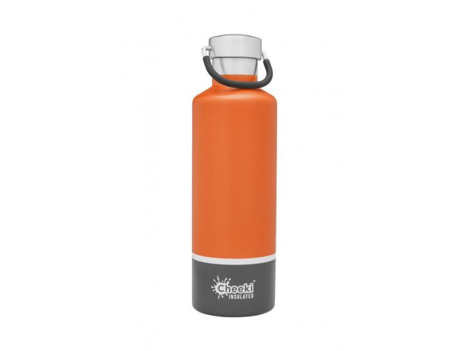 cheeki termo lahev 600ml Insulated Classic OrangeGrey Front