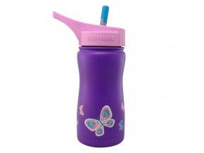 Dětská termoláhev do školy s brčkem Eco Vessel fialová s motýlky 370 ml