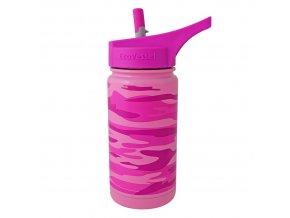 Termoláhev pro děti s brčkem Eco Vessel maskáčová růžová 370 ml