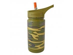 Dětská termo láhev s brčkem Eco Vessel maskáčová zelená 370 ml