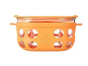 Skleněná dóza na potraviny s víčkem Lifefactory 950 ml - oranžová