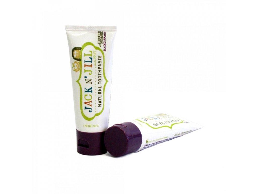 Jack N´ Jill Přírodní zubní pasta s příchutí černého rybízu 50 g bez fluoru, s bio extraktem z měsíčku a