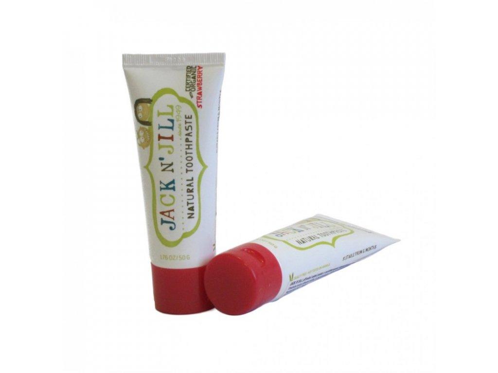 Jack N´ Jill Přírodní zubní pasta s příchutí jahody 50 g bez fluoru, s bio extraktem z měsíčku a