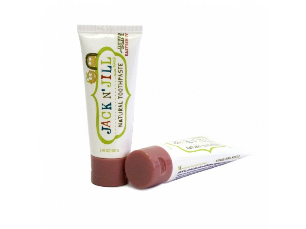 Jack N´ Jill Přírodní zubní pasta s příchutí maliny 50 g bez fluoru, s bio extraktem z měsíčku a