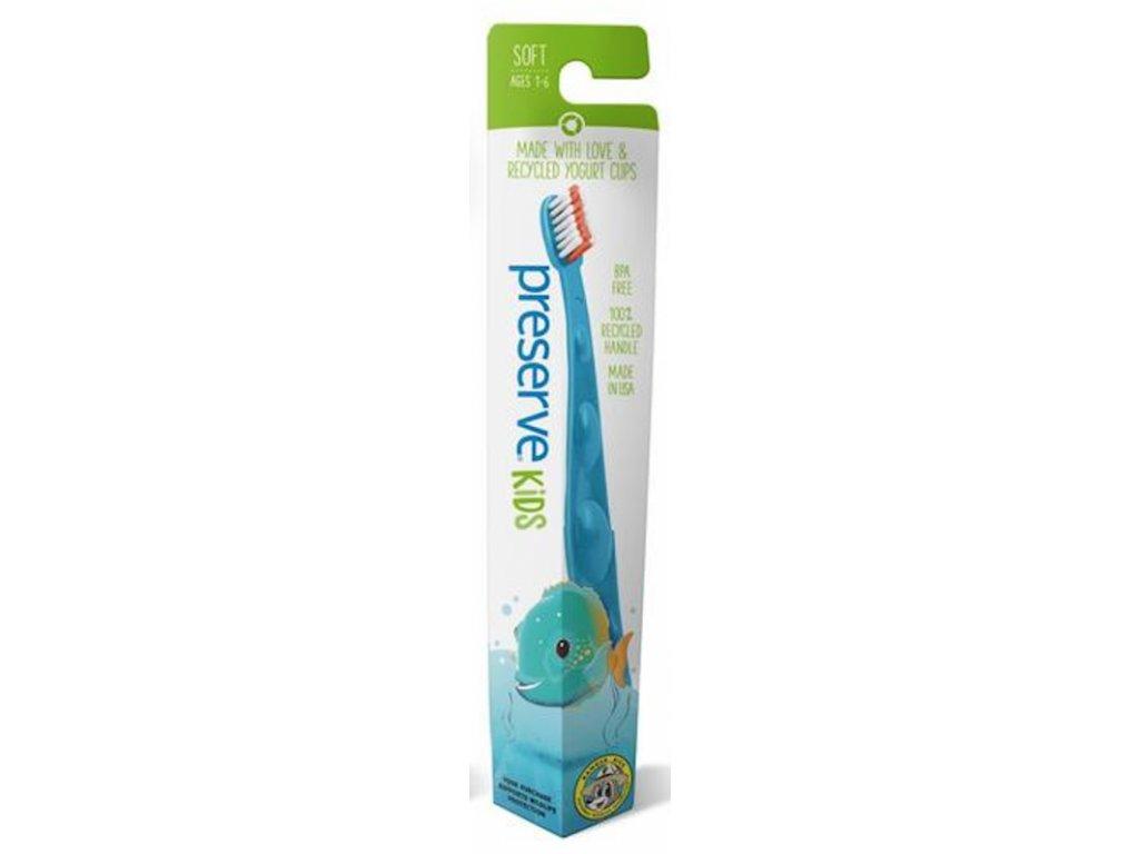 Preserve Dětský zubní kartáček soft azurový a