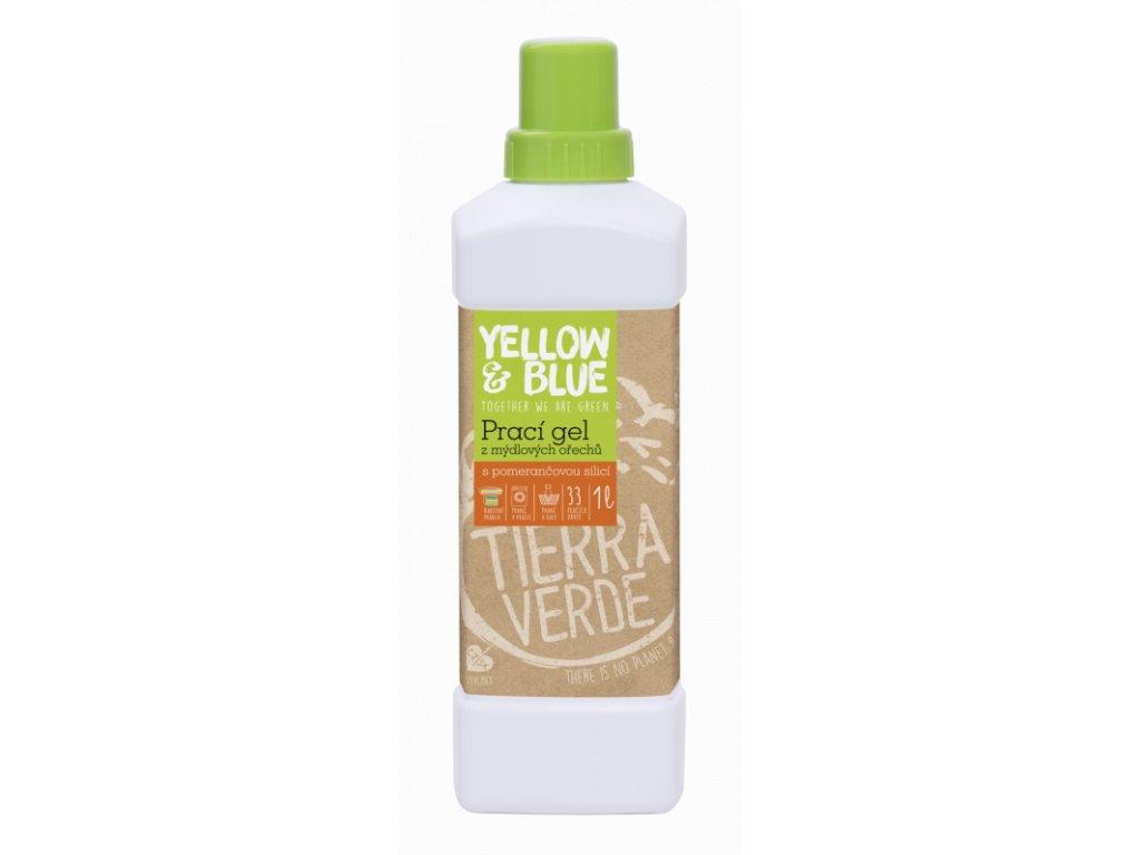 Yellow & Blue Prací gel z mýdlových ořechů s pomerančovou silicí 1 l
