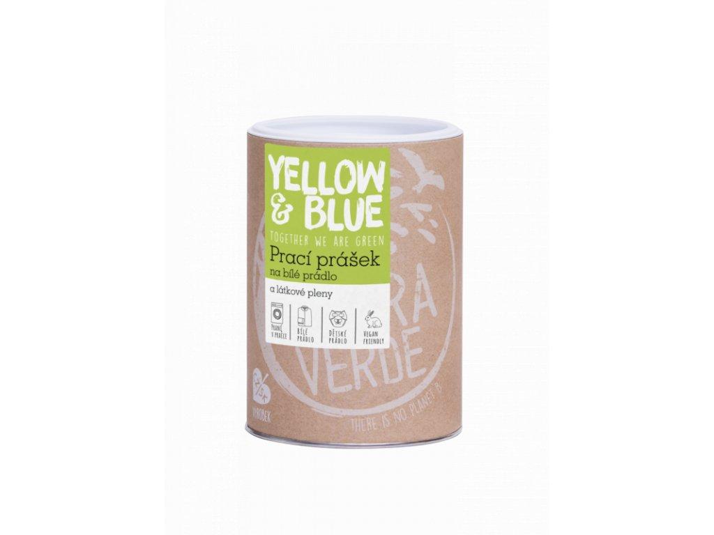 Yellow & Blue prací prášek z mýdlových ořechů na bílé prádlo a pleny 850 g dóza