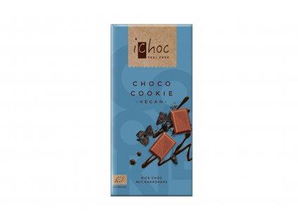 iChoc BIO vegan rýžová čokoláda CHOCO COOKIE 80g