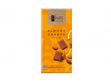 iChoc BIO vegan rýžová čokoláda MANDLE A POMERANČ 80g
