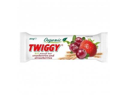 EKOFRUKT Tyčinka Twiggy müsli s brusinkami a jahodami BIO 20 g