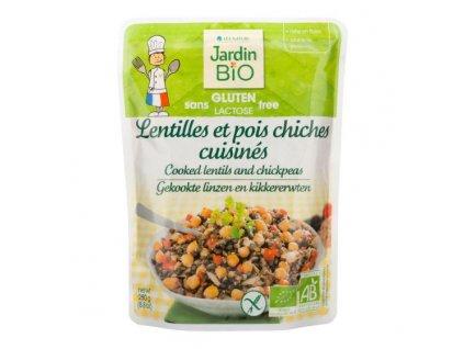 JARDIN BIO Hotový pokrm bezlepkový – vařená čočka s cizrnou BIO 250 g