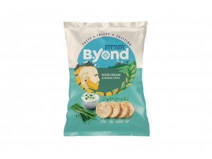 B.YOND Celozrnné rýžové lupínky s příchutí smetany a severské pažitky 70 g