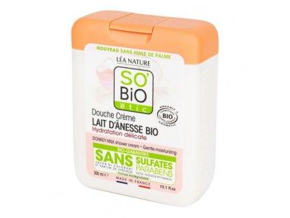 SO'BIO ÉTIC Gel sprchový a koupelový s oslím mlékem BIO 300 ml
