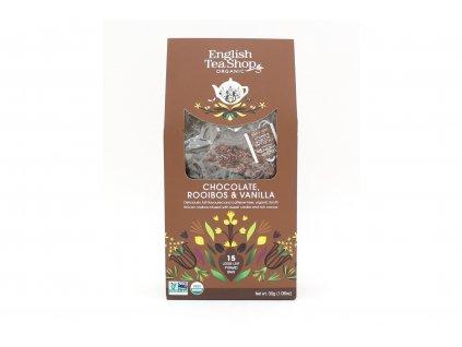 English Tea Shop Bylinný čaj rooibos s drcenými kakaovými boby a vanilkovými lusky BIO 15 nálevkových pyramidek 30g