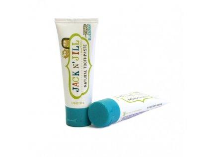 Jack N´ Jill Přírodní zubní pasta s příchutí borůvky 50 g bez fluoru, s bio extraktem z měsíčku a