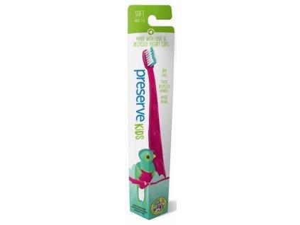 Preserve Dětský zubní kartáček soft růžový a