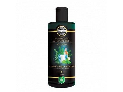 Topvet Wellness Energy Sport chladivý v mandlovém oleji koupelový a tělový olej 200 ml