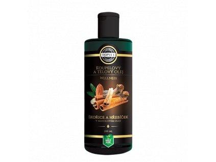 Topvet Wellness skořice a hřebíček v mandlovém oleji koupelový a tělový olej 200 ml