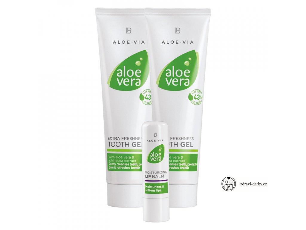 Aloe Vera Ústní série: Svěží zubní pasta 200 ml, Balzám na rty 4,8g
