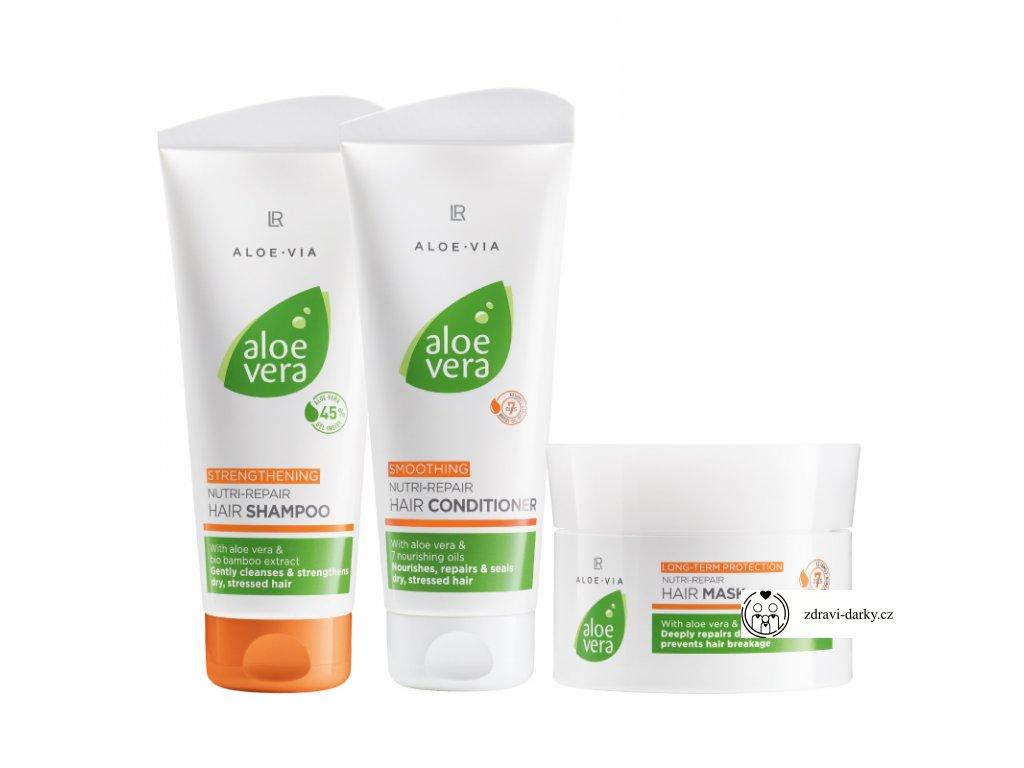 Aloe Vera Vlasová péče, série: Šampon na vlasy 200 ml,Kondicionér 200 ml, Vlasová maska 200 ml