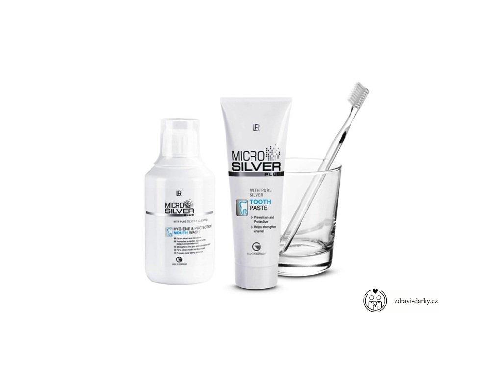 Microsilver Série pro péči o zuby: Zubní pasta 75ml, Ústní voda 300ml