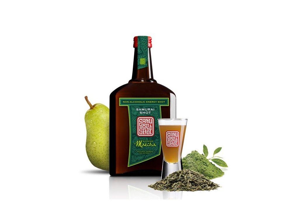 Povzbuzující nealkoholický nápoj MATCHA BOOSTER - zelený čaj a hruška