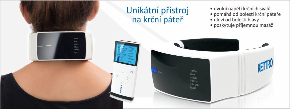 Jedinečný krční masážní přístroj pro uvolnění oblasti krku, šíje a krční páteře.