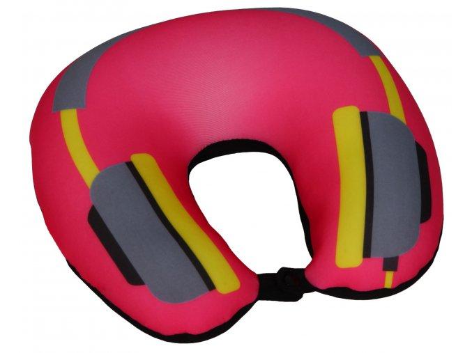 Cestovní polštář podkova růžová - sluchátka - BX 17