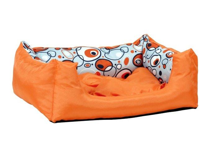 Pelech pro psa Argi obdélníkový s polštářem - oranžový se vzorem - 76 x 60 x 20 cm
