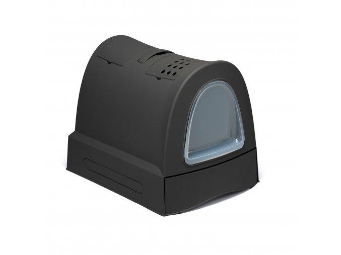 IMAC Krytý kočičí záchod s výsuvnou zásuvkou pro stelivo - antracitový - D 40 x Š 56 x V 42,5 cm