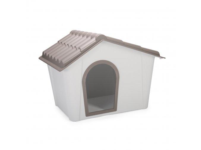 IMAC Bouda pro psa plastová - šedá/hnědá - D 98,5 x Š 77,5 x V 72,5 cm