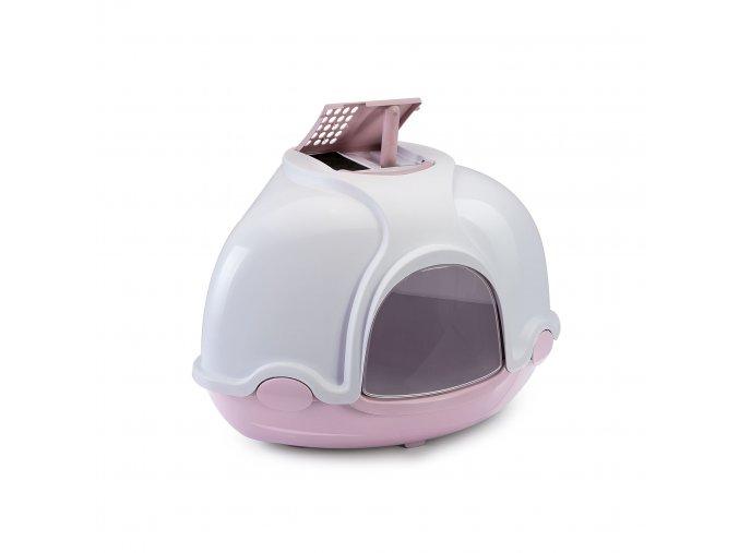 IMAC Krytý kočičí záchod rohový s filtrem - růžový - D 52 x Š 52 x V 44,5 cm