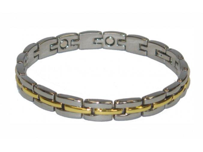 109 4 ocelovy naramek s magnety stribrno zlaty