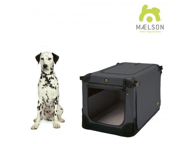 Maelson Nylonová skládací přepravka s ocelovou konstrukcí - černo-antracitová - L - 82 x 59 x 59 cm
