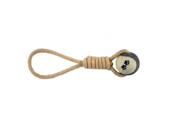 IMAC Házecí přetahovadlo pro psy s tenisovým míčkem - jutové - D 33 cm