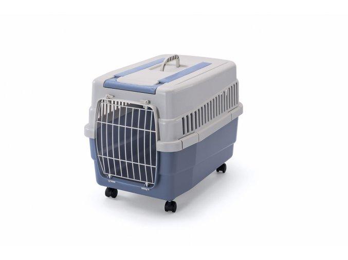 IMAC Přepravka na kolečkách pro psa a kočku plastová - modrá - D 60 x Š 40 x V 45 cm