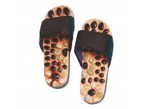 Akupresurní pantofle s přírodními kameny - SJH 314B Velikost L (42-44)