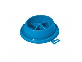 Plastová miska proti hltání s protiskluzem Argi - modrá - 21,5 x 20,5 x 5,5 cm