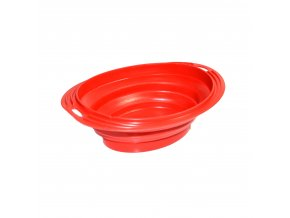 Silikonová cestovní miska oválná Argi - červená - 500 ml